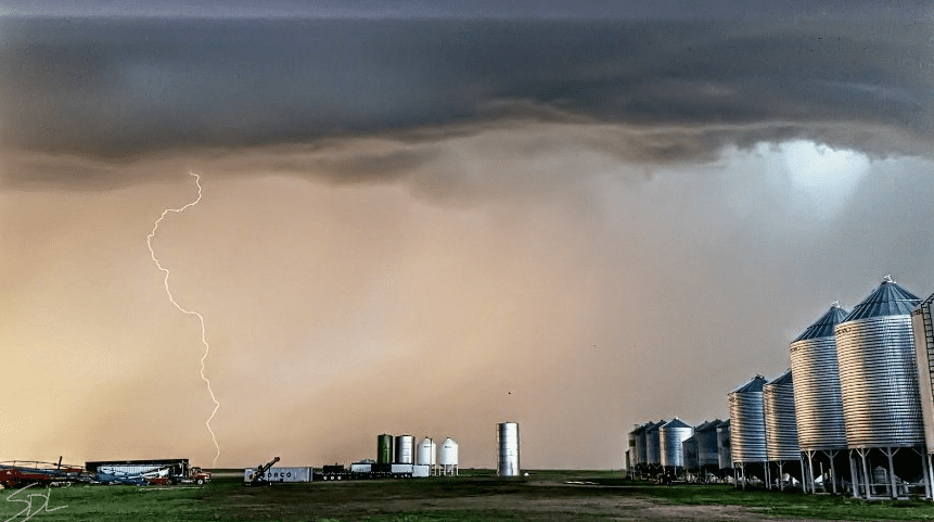 Farm Lightning Bins Summer Storm Saskatchewan